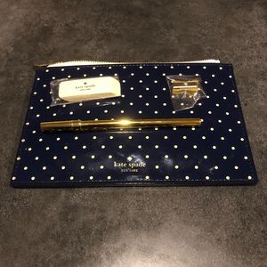 Kate Spade Navy Polka Dot Pencil Case/Makeup Bag